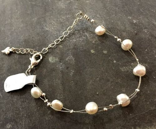 Freshwater Pearl & Silver Bead Twisted Bracelet FB03-T
